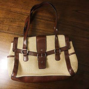 Vintage Straw and Vegan Leather Shoulder Bag 👜